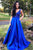 A-Line V-Neck Sweep Train Royal Blue Prom Dress with Beading Pockets L43 | Cathyprom