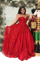A Line Long Princess Sweetheart Red  Full Lace Long Strapless Elegant Simple Prom Dress LPD11