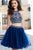 Sparkly Two Piece Halter Sleeveless Rhinestone Beading Chic Tulle Homecoming Party Dresses OHM101 | Cathyprom