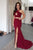 Two Piece Prom Dresses Trumpet Mermaid Sleeveless Burgundy Long Slit Cheap Prom Dress  OHC221 | Cathyprom