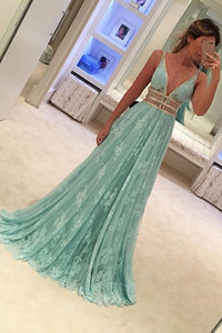 A-line Deep V-neck Sleeveless Sweep Train Mint Lace Prom Dress with Beading P87 | Cathyprom