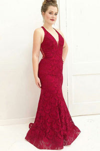 Mermaid Deep V-Neck Sweep Train Dark Red Lace Sleeveless Prom Dress with Beading C4