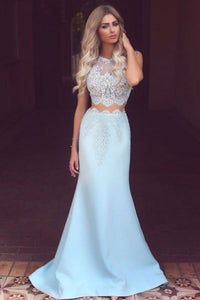 Two Piece Mermaid Jewel Sweep Train Light Blue Prom Dress with Lace L19