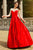 A-Line Jewel Sweep Train Red Satin Sleeveless Prom Dress with Beading Z10