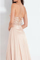 A-Line Spaghetti Straps Long Peach Prom Dress with Beading Split D1