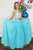 Two Piece Straps Sweep Train Blue Lace Prom Dress with Beading Embroidery C2