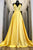 Simple A Line Strapless V Neck Sleeveless Pleats Long Yellow Satin Prom Dress OHC347 | Cathyprom