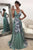 A-Line V-Neck Side-Zipper Flower Print Green Stretch Satin Prom Dress P35