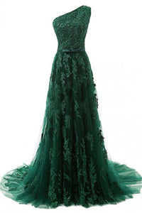 A-Line One-Shoulder Sweep Train Dark Green Tulle Prom Dress with Appliques Beading P16
