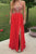 A-line Deep V-neck Open Back Split Floor Length Red Prom Dress with Beading P95 | Cathyprom