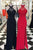 Special Round Neck Open Back Split Front Red/Black Sheath Prom Dress with Beading Lace LPD50 | Cathyprom
