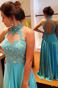 A-line Jewel Keyhole Open Back Sweep Train Blue Prom Dress with Beading Appliques LPD41 | Cathyprom