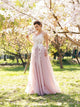 A-line Scoop Neck Floor Length Sleeveless Long Tulle Prom Dresses/Evening Dress With Appliques OHC287 | Cathyprom