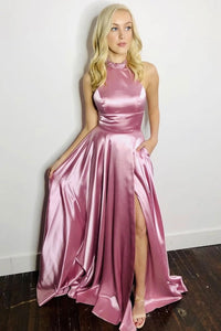 Chic A Line Pink Satin High Neck Jewel Sleeveless Beading Side Slit Long Satin Prom Dress Formal Dress OHC324 | Cathyprom