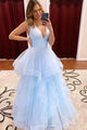 Stunning A-line V-neck Sleeveless Criss-Cross Straps Tiered Long Tulle Prom Dresses OHC178 | Cathyprom
