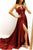 Sexy A Line Strapless Sweep Train Sleeveless Burgundy Long Satin Prom Dresses Slit Evening Dress OHC233 | Cathyprom
