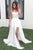 A-line White Lace V-neck Sleeveless Sweep Train Split Prom Dress P59
