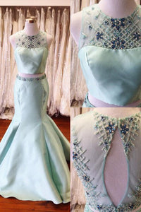 Charming Two Piece Round Neck Open Back Long Mint Mermaid Prom Dress with Beading Rhinestone LPD49 | Cathyprom