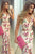 Mermaid Deep V-neck Sleeveless Sweep Train Printed Split Front Prom Dress P63
