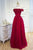 A Line Off The Shoulder Floor Length Short Sleeves Hand-Made Flower Long Burgundy Prom Dress/Evening Dress OHC127 | Cathyprom