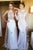 Mermaid High Neck White Lace Sweep Train Long Sleeves Prom Dress with Appliques P43