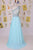 Elegant One Shoulder Court Train Chiffon Blue Backless Long Prom Dress D12