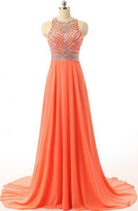Sexy Halter Court Train Chiffon Backless Orange Prom/Evening Dress With Beading Z38