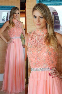 A-line Sleeveless High Neck Floor Length Pink Prom Dress with Lace Beading LPD40 | Cathyprom