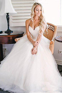 Beautiful A Line Spaghetti Straps Sweep Train Sleeveless Long Tulle Bridal Gown Wedding Dresses OHD167 | Cathyprom