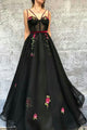 A Line Spaghetti Straps Floor Length Sleeveless Embroidery Long Tulle Prom Dress OHC212 | Cathyprom