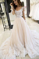 Gorgeous A Line Round Neck Long Sleeves Prom Dresses with Appliques OHC179 | Cathyprom