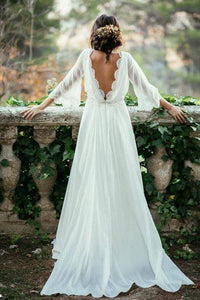 Cheap A-line Square Sweep Train Long Sleeves Appliques Chiffon Bridal Gown Wedding Dresses OHD166 | Cathyprom