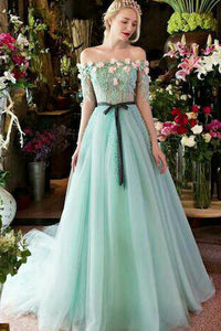 A-line Off-the-shoulder Sweep/Brush Train Long Sleeves Beading Appliques Long Tulle Prom Dress OHC139 | Cathyprom