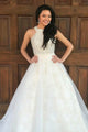A-Line Crew Sweep Train White Tulle Sleeveless Prom Dress with Beading Lace Z6
