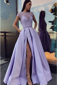 A-Line Crew Cap Sleeves Open Back Lilac Beaded Long Prom Dress with Pockets Split Z17