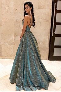 Spaghetti Straps Sage Sleeveless Long Prom Dress with Sequin Evening Dress 2020 LPD5 |Cathyprom