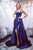Elegant A Line Halter Sleeveless Side Slit Long Royal Blue Satin Prom Dress Evening Dress OHC345 | Cathyprom