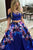 Two Piece Spaghetti Straps Sweep Train Royal Blue Printed Satin Prom Dress with Lace C7