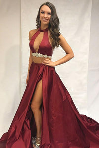 Two Pieces Burgundy High Neck Sleeveless Beading Long Satin Prom Dress With Slit Sexy Evening Dress  OHC294 | Cathyprom