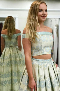 Two Piece Off-the-Shoulder Sweep Train Mint Printed Satin Prom Dress with Pockets C10