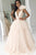 A-Line Deep V-Neck Sweep Train Pearl Pink Striped Tulle Prom Dress with Flower Ruffles Z8