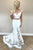 Two Piece Mermaid Off-the-Shoulder Sweep Train White Lace Prom Dress with Embroidery L31