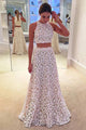 Two Piece A-line Jewel Sleeveless Floor Length White Lace Prom Dress LPD30 | Cathyprom