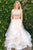 Two Piece Bateau Sweep Train White Tulle Sleeveless Prom Dress with Beading Z7