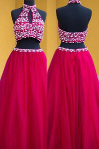 Two Piece A-line Halter Keyhole Floor Length Fuchsia Backless Prom Dress with Pearls P101 | Cathyprom