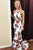 Two Piece Cross Neck Sweep Train White Printed Split Open Back Prom Dress Z4