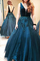Ball Gown V-Neck Sleeveless Sweep Train Embroidery Long Prom Dress OHC176 | Cathyprom