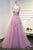 Chic A-line Scoop Neck Sweep Train Prom Dresses/Evening Dress with Appliques OHC185 | Cathyprom