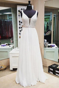 A-line V-neck Sleeveless Floor Length White Prom Dress with Beading Pearls LPD31 | Cathyprom