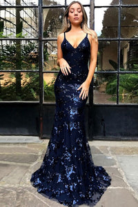 Mermaid Spaghetti Straps Backless Navy Blue Prom Dress with Appliques OHC017 | Cathyprom